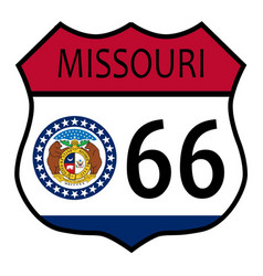 Route 66 missouri sign and flag vector