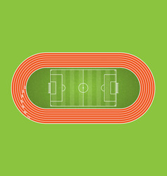 Running track and football arena top view of vector