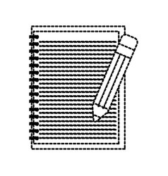 school lined notebook and pencil write education vector image
