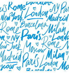 seamless pattern with names of world cities vector image