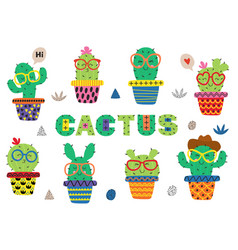 Set isolated funny cactus in glasses vector