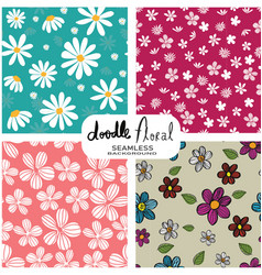 set of doodle vintage flowers pattern seamless vector image
