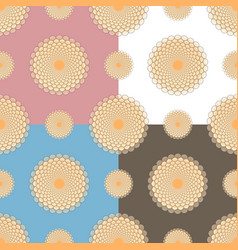 Set of four seamless patterns of flowers with vector