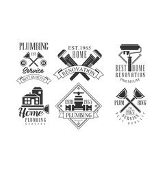 set of original monochrome emblems for vector image