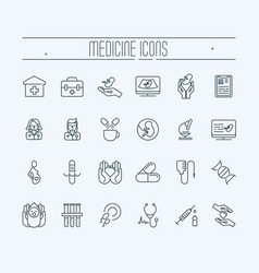 set of thin line icons medicine and heathcare vector image