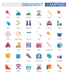 set trendy flat gradient summer camping vector image