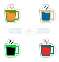 sets of label frames and badges icons vector image