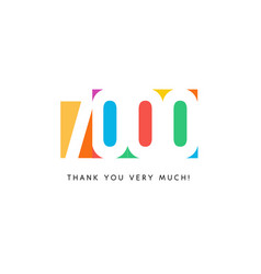 Seven thousand subscribers baner colorful logo vector