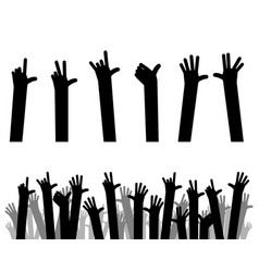 silhouettes of hands up vector image