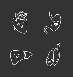 smiling human internal organs chalk icons set vector image