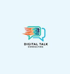 Speech bubble for digital talk consulting logo vector