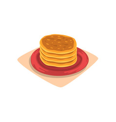 Stack of delicious pancakes on red plate tasty vector