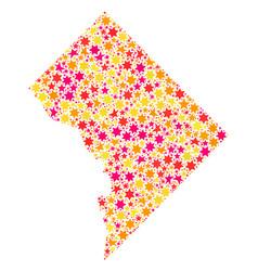 Star mosaic map of washington dc vector