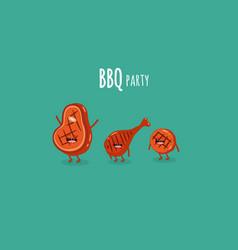 steak chicken leg bbq party vector image