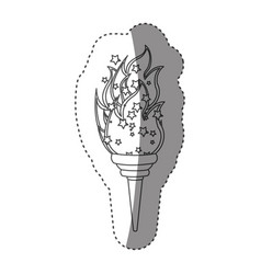 sticker grayscale contour with olympic torch flame vector image