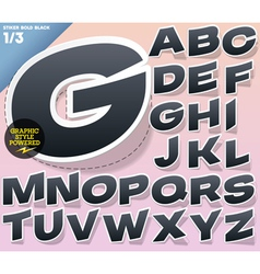 Sticker or label style alphabet vector