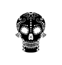 sugar skull silhouette with floral pattern vector image