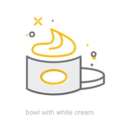 Thin line icons Bowl with white cream vector