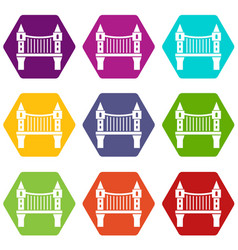tower bridge icons set 9 vector image