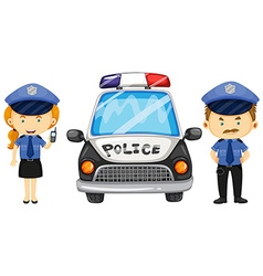 Two police officers by the police car vector