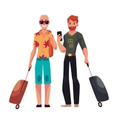 Two young men bald and red haired travelling vector