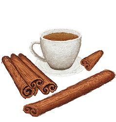 Unique style of cinamon sticks and a cup of vector