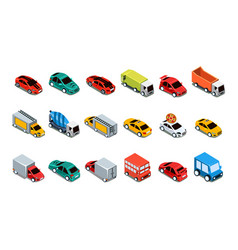 urban cars and vehicles set city transport vector image