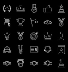 victory line icons on black background vector image