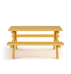 Wood picnic table with benches wooden furniture vector