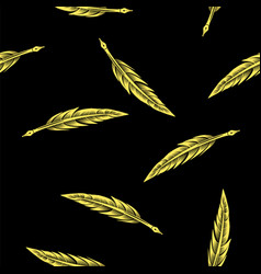 yellow feathers seamless pattern vector image