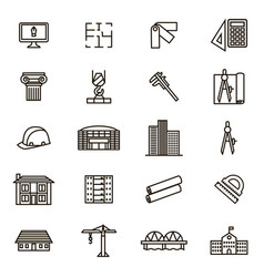 architecture signs black thin line icon set vector image