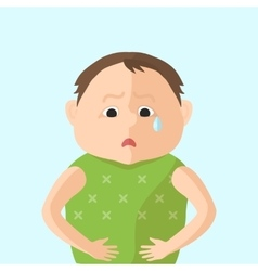 Children have an abdominal pain Character in Flat vector image