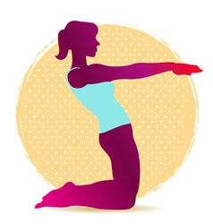 Colorful of yoga asana silhouette for stretching vector image vector image