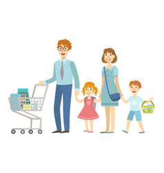 family of four members shopping in supermarket vector image vector image