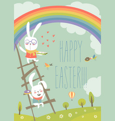 funny easter bunnies with rainbow vector image vector image