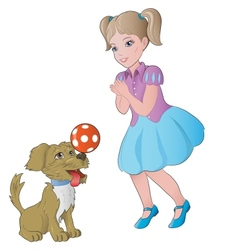 girl playing with little dog vector image