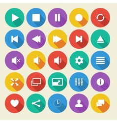 Media player flat icons with long shadow vector image vector image
