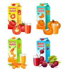 bright fresh vegetable juices set vector image vector image
