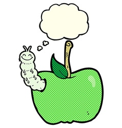 Cartoon apple with bug with thought bubble vector