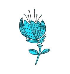 Cartoon flower flat sticker icon vector image vector image