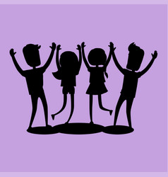 company of friends gives high five silhouette vector image