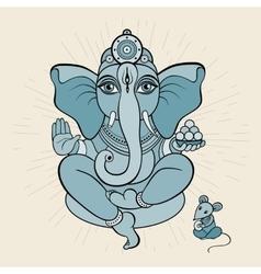 Golden Ganapati Meditation in lotus pose vector image