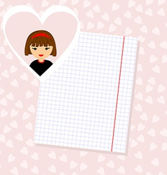 Love Letter Portrait of Girl in Heart Background vector image vector image