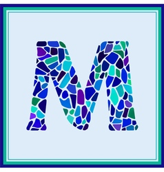 M - letter - Green Watercolor mosaic vector image