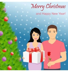 Man and woman at Christmas tree vector image vector image