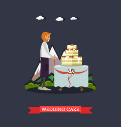 wedding cake in flat style vector image