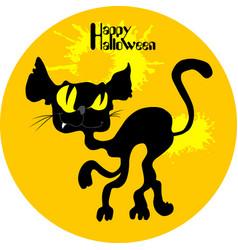 Wild black cat halloween vector