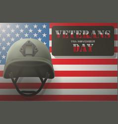 american flag and veterans helmet vector image vector image