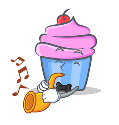 Cupcake character cartoon style with trumpet vector