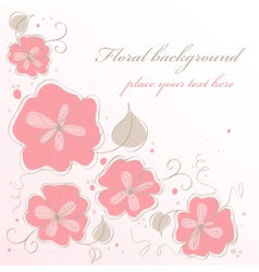 cute handmade floral card vector image vector image